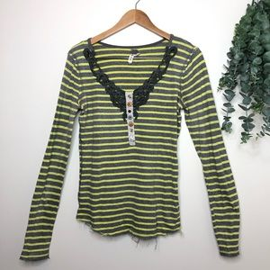 FREE PEOPLE thermal stripes gray yellow Henley